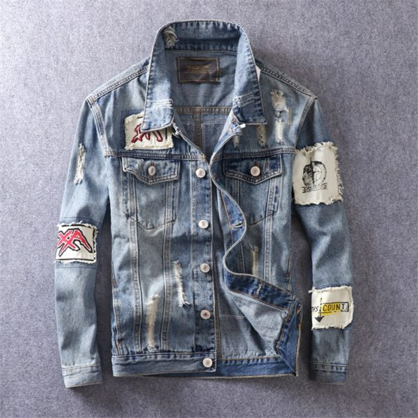 Denim Distressed Jeans Patch Jacket