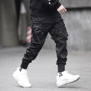 Black Pencil Cargo Harem Joggers