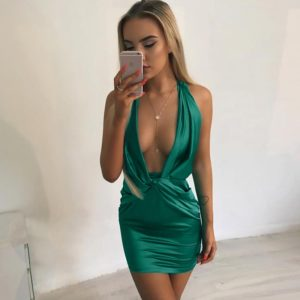Halter Backless Bandage Mini Dress