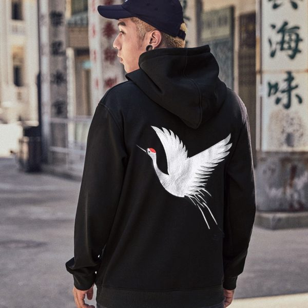 Embroidered Japanese Crane Pullover Hoodie