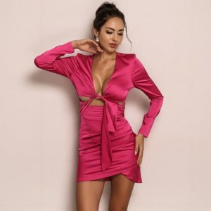 Long Sleeve V Neck Wrap Mini Dress