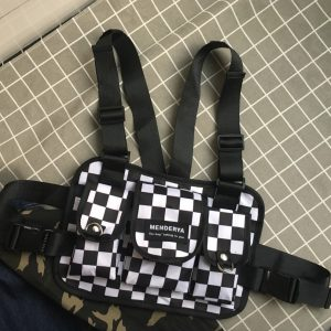 Black & White Checkered Chest Bag