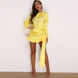 Yellow Long Lantern Sleeve Mini Dress