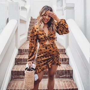 Ruffled Cutout Leopard Mini Dress