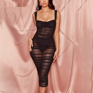 Bandage Double Mesh Midi Dress