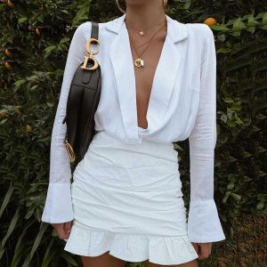 White Ruched Deep V-neck Mini Dress