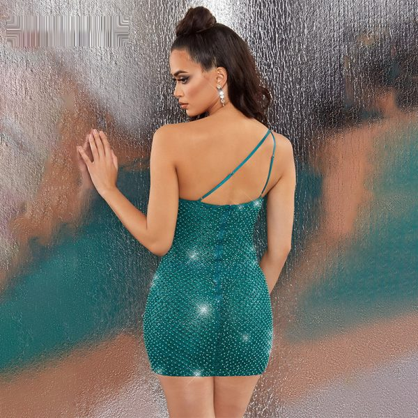 One Shoulder Beaded Sequin Dress