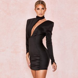 Black Party Cut Out Long Sleeve Dress