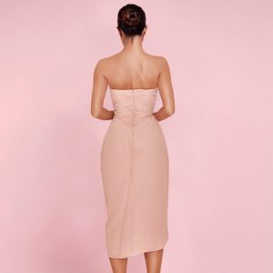 Lady Pink Wrinkled Slit Bodycon Dress