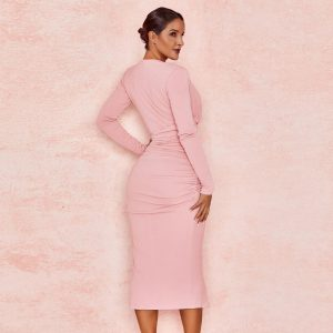 Pink Deep V Wrinkled Bodycon Dress