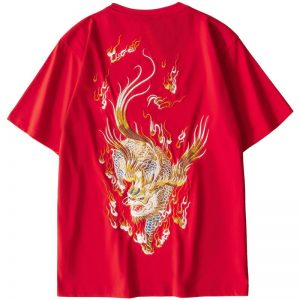 Chinese Dragon Embroidery T-Shirt