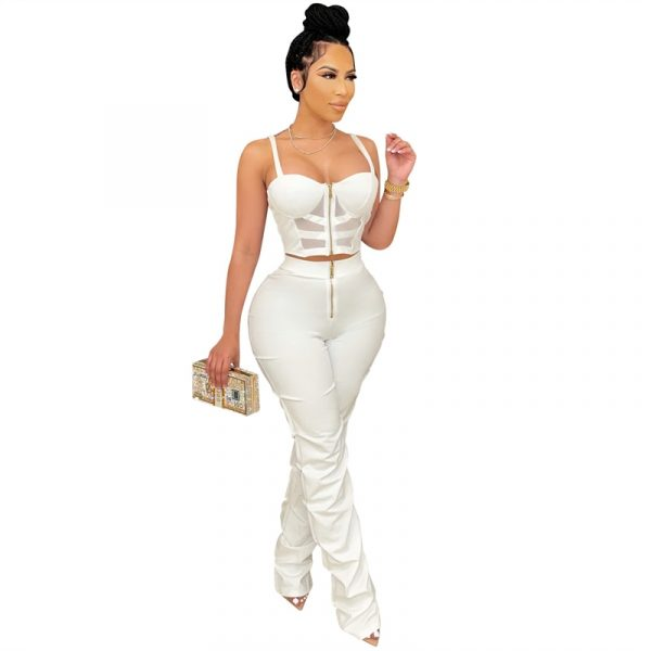 Cami Cropped Top High Waist Pants Two Piece Set With Center Zipper