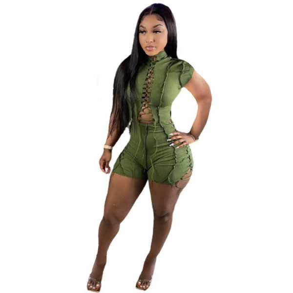 Lace Up Trimmings Overall Shorts Jumpsuits